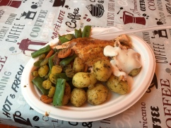 Fried salmon, potatoes and veggies at Kauppatori. My welcoming and farewell lunch in Helsinki.